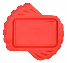 """Pyrex 233-PC Rectangle 9"""" x 13"""" 3 Quart Storage Container Lid Cover Red 4PK New"""