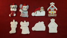 Misc Mice Ceramic Bisque Christmas Tree Ornaments 4 pc Set Xmas Mouse Home Decor