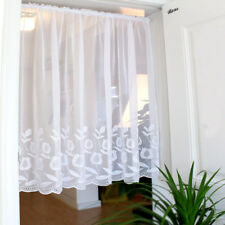White tulips Home decorate Kitchen Lace Sheer window Cafe Curtain rod pocket