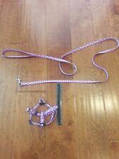 Purple White Polka Dot Dog Cat Puppy XS Animal Harness Belts Leading Leash
