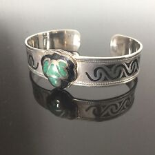 Bracelet en Argent Massif Malachite et Email Solid Silver Bangle