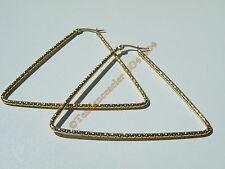 Boucles d'Oreilles Créoles Forme Triangle Tréssé 68 mm Acier Inoxydable Doré Or