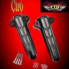Ciro Gloss Black Lower Front Fork Leg Covers Harley 14-17 HD Touring  Ciro 43002