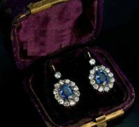3Ct Oval Cut Blue Sapphire Diamond Drop & Dangle Earrings 14K White Gold Over