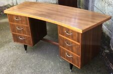 SUPERB RETRO WALNUT BOWFRONT WRITING DESK VERY CLEAN 2 MAN DELIVERY
