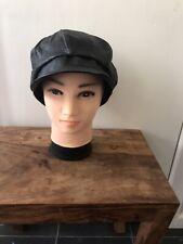 Umbrella Hat Railway/Train Driver Hat Vintage Genuine Leather Black