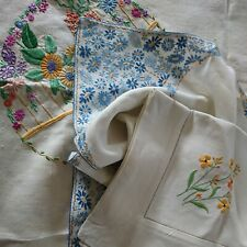 More details for vintage hand embroidered linen tablecloths x 3/ all beautiful floral