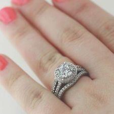 1.5 Ct Halo Round Cut Moissanite Wedding Engagement Ring Set In 14k White Gold