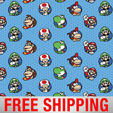 "Fleece Fabric Super Mario Nintendo Licensed 60"" Wide Free Shipping Style 55827"