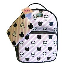 BETSEY JOHNSON Panda Backpack and Pouch Set Blush Pink Stripes New with tags