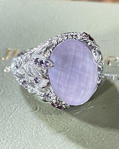 Judith Ripka Sterling Silver Rose Quartz Amethyst Garnet Hearts Ring Sz 6