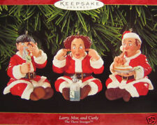 1999 Hallmark Larry Curly Moe 3 Stooges Ornaments Mint