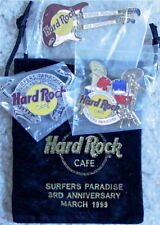 Hard Rock Cafe SURFERS PARADISE 1999 3rd Anniversary 3 PINS Drums Sax & Guitar