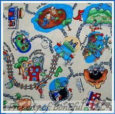 BonEful FABRIC FQ Cotton Quilt VTG Camp Dinosaur Dino Park Toile Kid Island Zoo