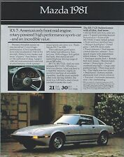 1981 Mazda RX-7 / GLC / 626 Brochure / Flyer: RX7,GS,GSL,SPORT,LUXURY,WAGON, '81