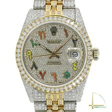 Rolex Datejust Mens Two-Tone 36mm Arabic Rainbow Pave Full Genuine Diamond Watch