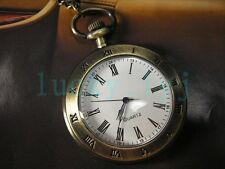 Brass Archaize Necklace Pocket Quartz Watch Man Cool FOB