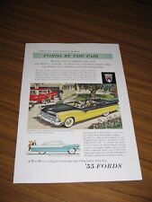 1955 Print Ad Ford Fairlane Sunliner Convertible & Ranch Wagon,Victoria