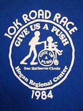 Vintage 10K Road Race Give Us A Push 1984 80's Marathon Run Hogan T Shirt XS m