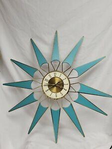 """Vintage 28"""" Elgin Starburst Atomic Mid Century Modern Wall Clock Works AS IS VR"""