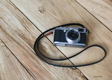 cool Coffee top 11mm black leather handmade Camera neck shoulder strap