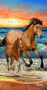 Horses on the Beach Sunset Horse Beach Bath Towel 30 x 60
