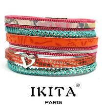 Luxus Leder Armband IKITA Paris  Ibiza Brasilien Magnetverschluss Herz Bunt