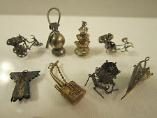 Vintage Silver Chinese Charm Bracelet Pendant Articulated Cart Umbrella Pipe Lot