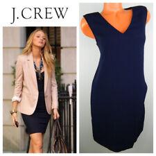 c473af960a4 J Crew Wrap Front V-Neck Dress Shift Sleeveless 4 Small Navy Blue Career