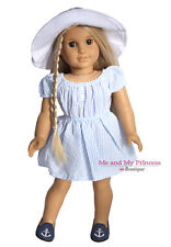 Striped Seersucker Dress Hat and Shoes 3p for 18 inch American Girl Doll Clothes