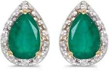 10 Quilates Oro AMARILLO Pera Esmeralda & Diamante Pendientes