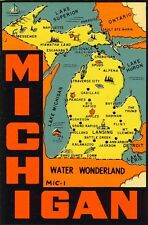 Vintage Travel Decal Replica Window Cling - Michigan