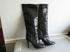 BCBG Max Azria Marsha Black Snake Patent Leather Knee Boots Tall Heels 9 $450