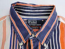 Ralph Lauren Custom Fit Herren Hemd Langarm Orange Gestreift Gr. 16,5 / 42