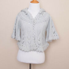 Anthropologie Sleeping on Snow Blue Hooded Cropped Capelet Cardigan Sweater XS