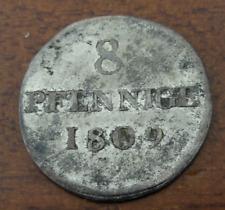 Germany Saxony 1809 H Silver 8 Pfennige AU