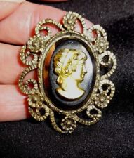 Vintage Black & Gold Cameo Pin Brooch preowned