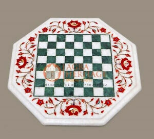 Marble Chess Table Top With Floral Marquetry Pietradura Inlay Octagonal Art Deco