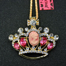 Betsey Johnson Crystal Shiny Crown Rhinestone Pendant Sweater Chain Necklace