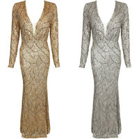 Sequin Plunge V Neck Mesh Long Sleeve Maxi Bodycon Party Evening Dress Gown