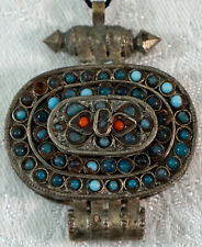 Hand Made Pendant from Tibet with Little Turquoise & Coral Beads