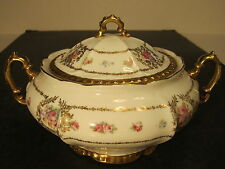 Ornate VTG OEG Royal Austria Floral & Gold Decorated Covered Cracker Jar Set