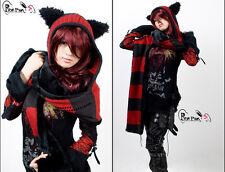 Bonnet écharpe rayures gothique lolita cosplay oreilles de chat kitty Punkrave