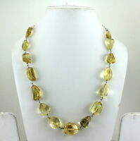 NECKLACE NATURAL YELLOW CITRINE GEMSTONE BEADED JEWELRY 925 STERLING SILVER