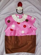 POTTERY BARN KIDS Girls CUPCAKE Halloween COSTUME w/Strawberry Headpiece sz 7/8
