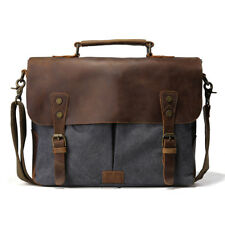 "Mens Leather Canvas 14"" Laptop Messenger Shoulder Sling Crossbody Bag Satchel"