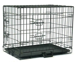 """Black 24"""" Dog Crate Kennel Folding Metal Pet Cage 2 Door With Tray"""