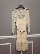 Liberty Love Women's Dress Cream Size L Lace Floral Design