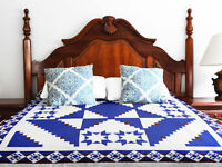 Incredible Patchwork Log Cabin & Stars Abstract FINISHED QUILT - Great quilting