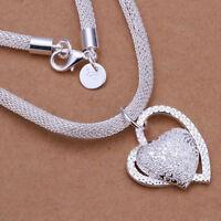 Silber Alloy Charm Heart Schön Damen Halsketten Anhänger Geschenke Mode schöne